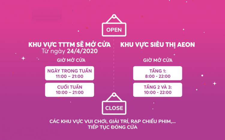 Thông báo mở cửa từ 24/4 AEON MALL Long Biên